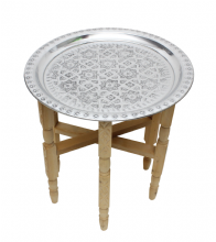 Moroccan Aluminium Tray Table with Folding Cedar Wood Legs Handmade Small 40cm 15.7'' (ATT1)